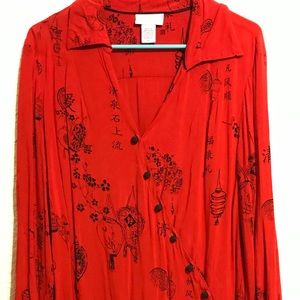 Long sleeve blouse with oriental design